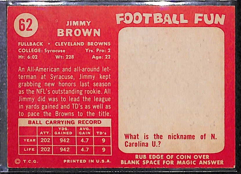 Lot of 62 Different 1958 Topps Football Cards w. Jim Brown RC BVG 5.0