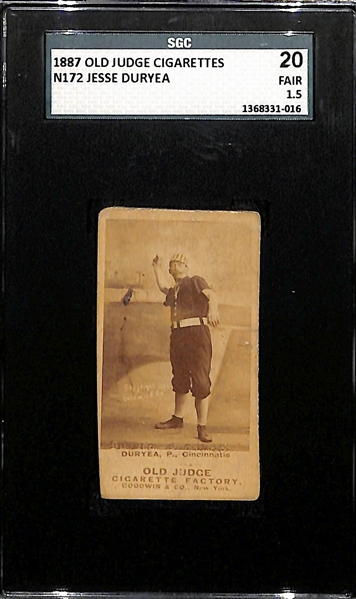 1887 Old Judge Cigarettes N172 Jesse Duryea Card SGC 1.5