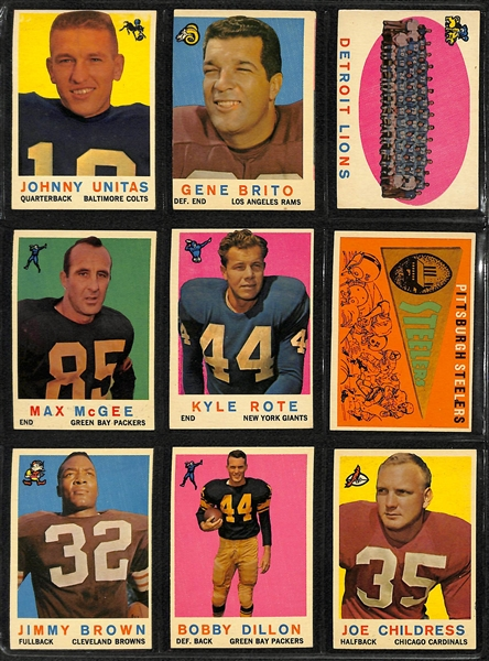 Lot of 70 Different 1959 Topps Football Cards w. Unitas