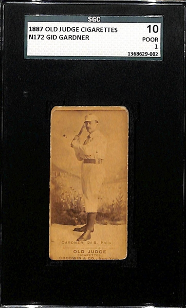 1887 Old Judge Cigarettes N172 Gid Gardner Card SGC 1