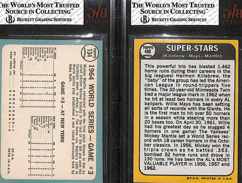 Lot of 2 - 1965 & 1968 Topps Mickey Mantle Cards - BVG