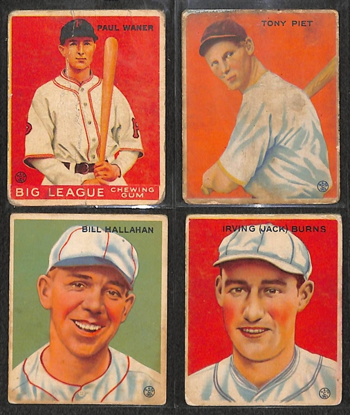 Lot of 4  -1933 Goudy Baseball Cards w. Paul Waner