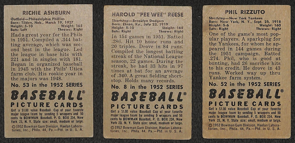 Lot of 3 - 1952 Bowman Baseball Cards - Ashburn, Reese, & Rizzuto