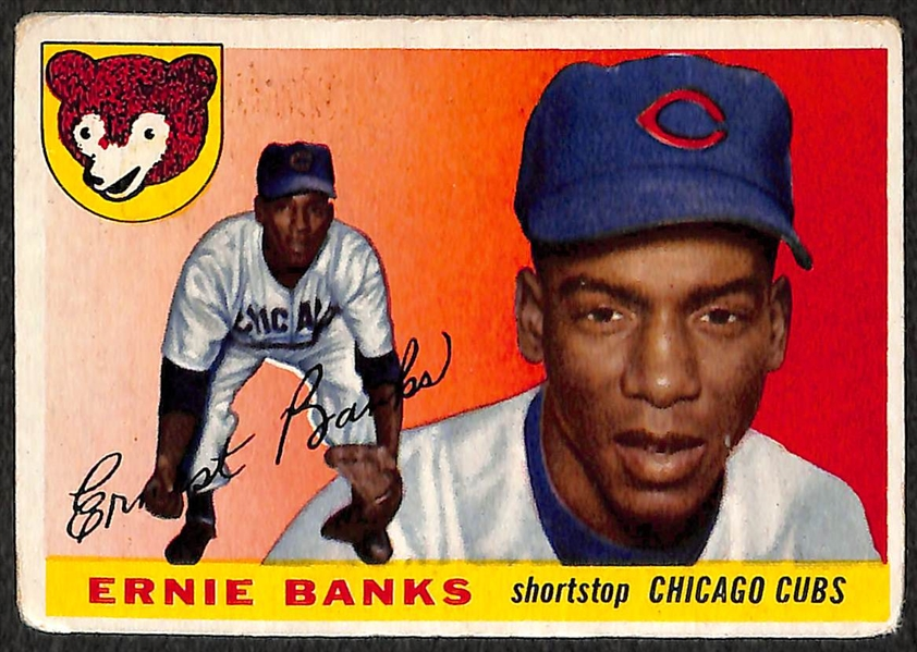 Lot of 2 - 1955 Topps Baseball Ernie Banks (2nd Year Card)