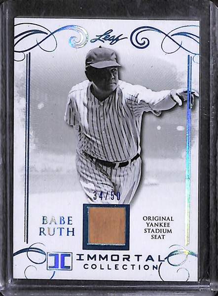 Lot of (4) Leaf Babe Ruth Baseball Cards w/ Original Pieces of Yankee Stadium Seats
