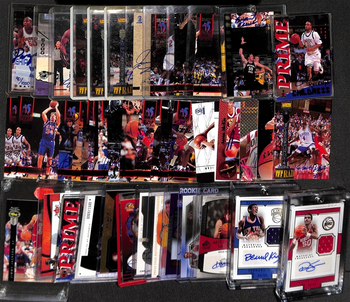 Lot of Over (40) Basketball Certified Autograph Cards w/ Bernard King & Ralph Sampson National Treasures Autographs