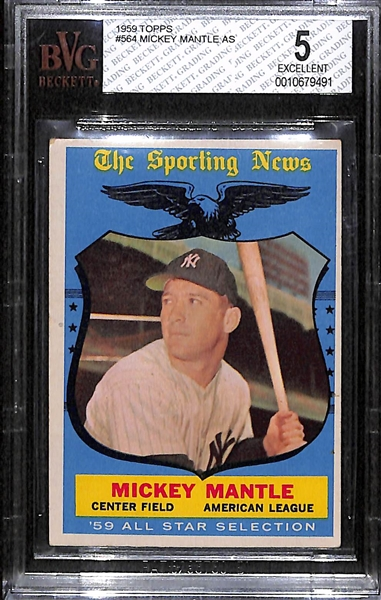 1959 Topps Mickey Mantle All-Star Card Graded BVG 5