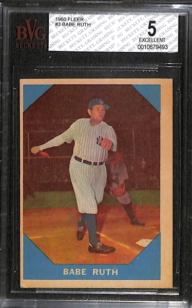 Lot of 2 - 1960 Fleer Baseball Cards - Babe Ruth & Ted Williams - BVG 5 & 3