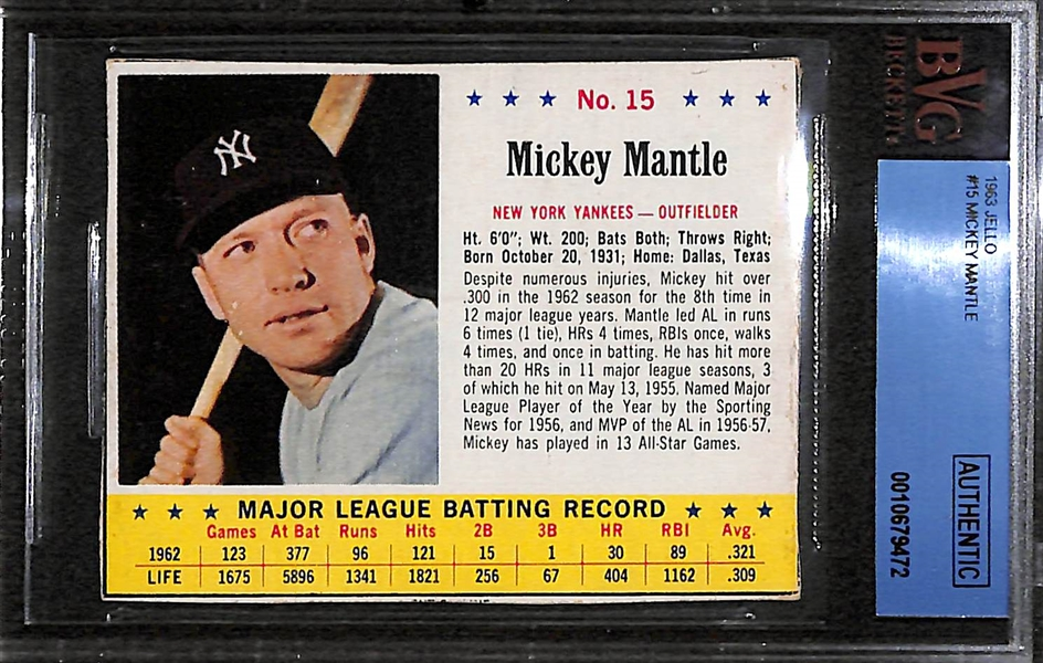 Lot of 2 - 1962 & 1963 Post Mays & Jello Mantle Cards - BVG Authentic
