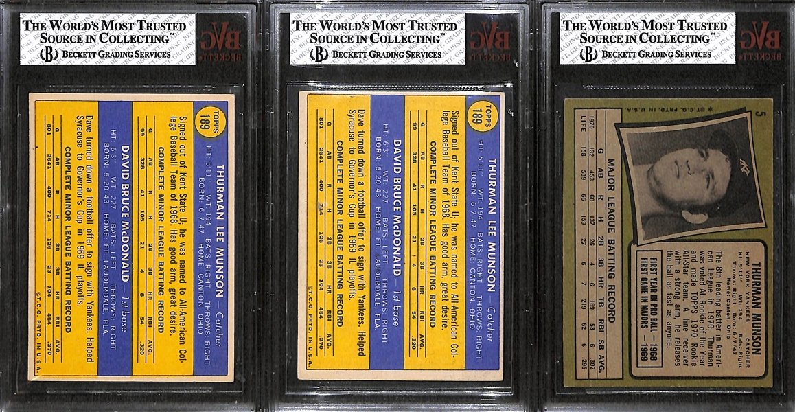 Lot of 3 - Topps Thurman Munson Cards - 1970 & 1971 - BVG