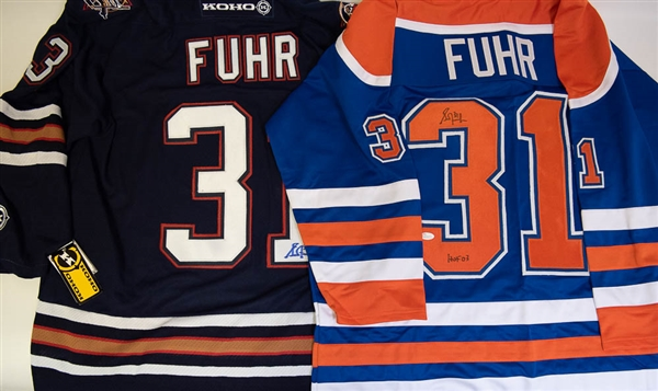 Lot of 2 Grant Fuhr Signed Replica Oilers Hockey Jerseys - Dark Blue & Throwback Style Jersey (JSA)