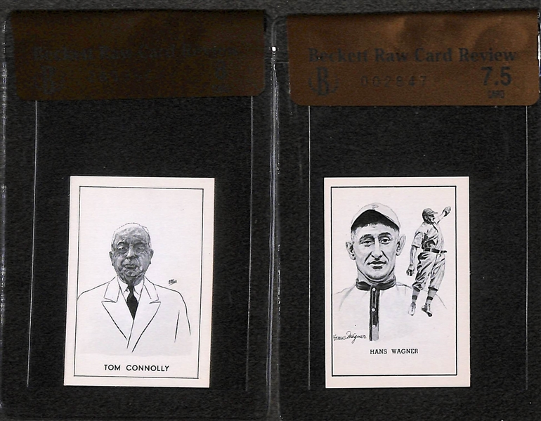 Honus Wagner (BVG 7.5) and Tom Connolly (BVG 8) 1950 Callahan Hall of Fame Cards