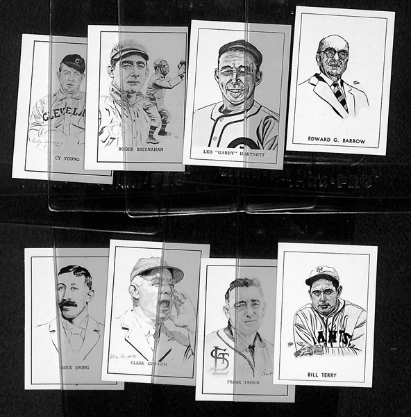 (8) High-Grade 1950 Callahan HOF Cards w/ Cy Young, Bresnahan, Hartnett, Barrow, Ewing, Griffith, Frisch, & Terry