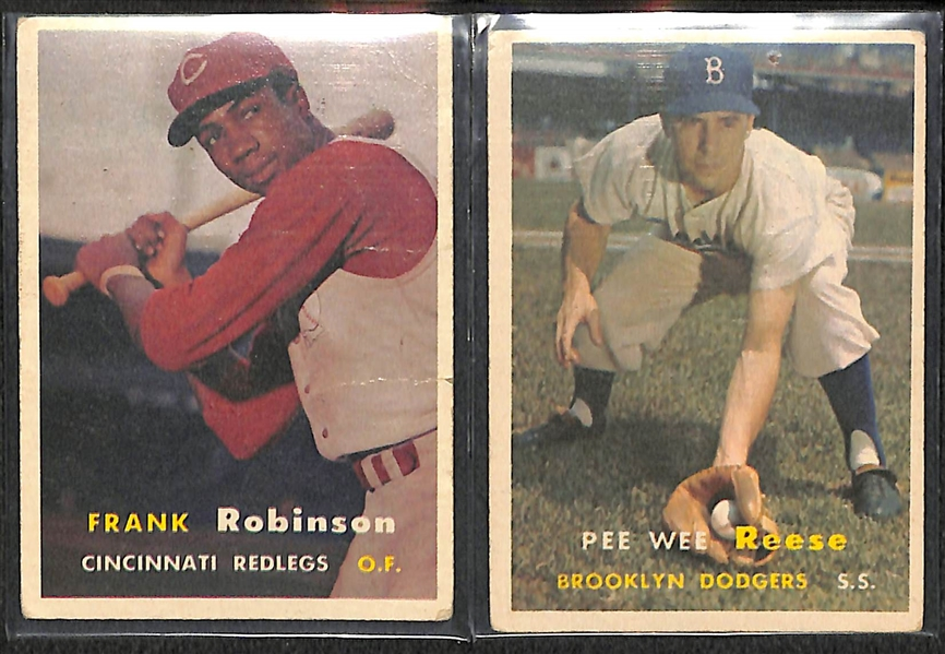 Lot of 175 Assorted 1957 Topps Baseball Cards w. Frank Robinson RC
