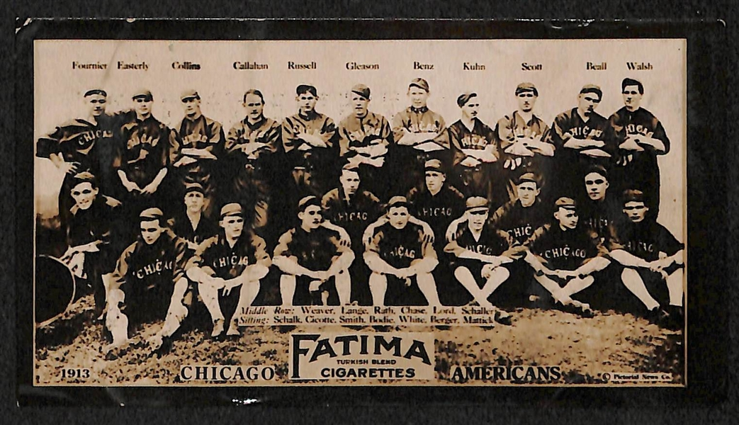1913 Fatima (T200) Chicago Americans Team Card