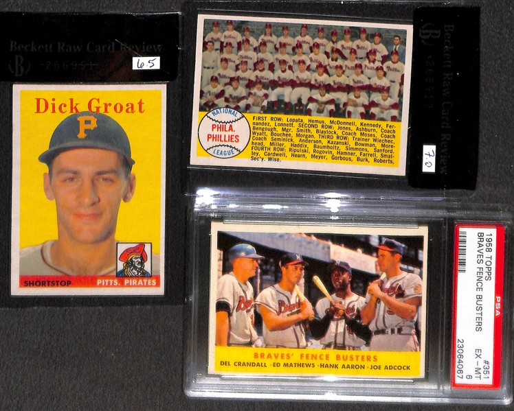 Lot of 7 - 1958 Topps Graded Baseball Cards w. Stan Musial BVG 7.0