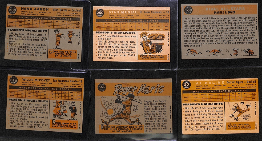 Lot of 6 - 1960 Topps Baseball Star Cards w. Hank Aaron