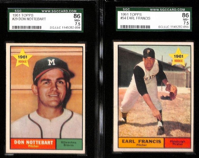 Lot of 9 - 1961 Topps Graded Baseball Cards - w. Frank Robinson SGC 88 (8)