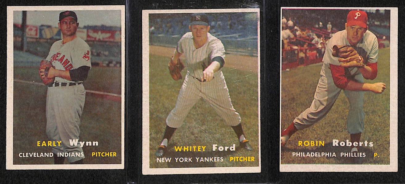 Lot of 218 - 1957 Topps Baseball Cards w. Early Wynn