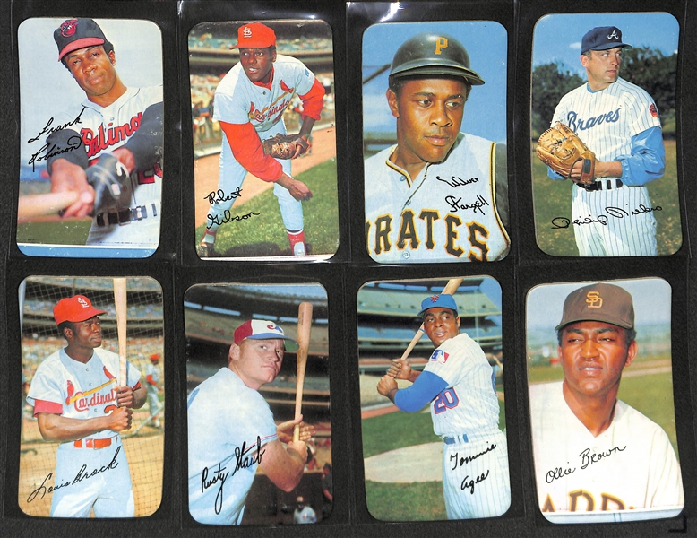 Lot of 24 Different 1970 Topps Super Baseball Cards w. F. Robinson, Gibson, & Stargell