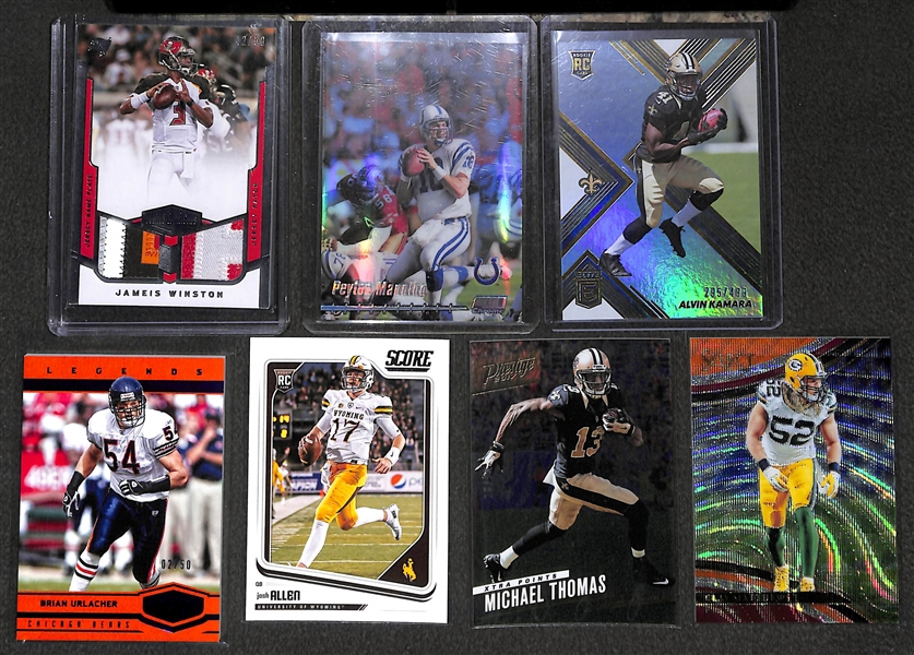 Lot of 58 Football Numbered/Insert/Rookie Cards w. Jameis Winston Dual Patch