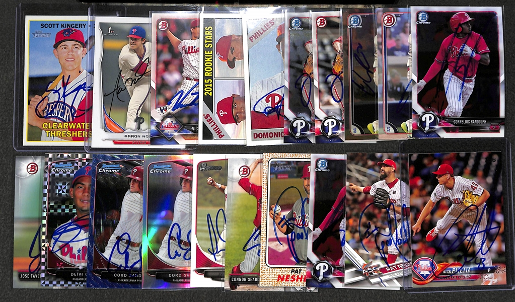 Lot of 20 Phillies Signed Cards w. Aaron Nola & Scott Kingery