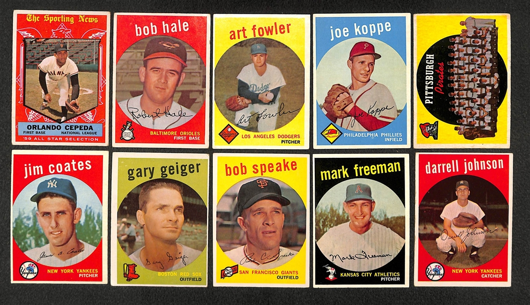 Lot of 21 Different 1959 Topps Baseball High Number Cards w. Orlando Cepeda AS