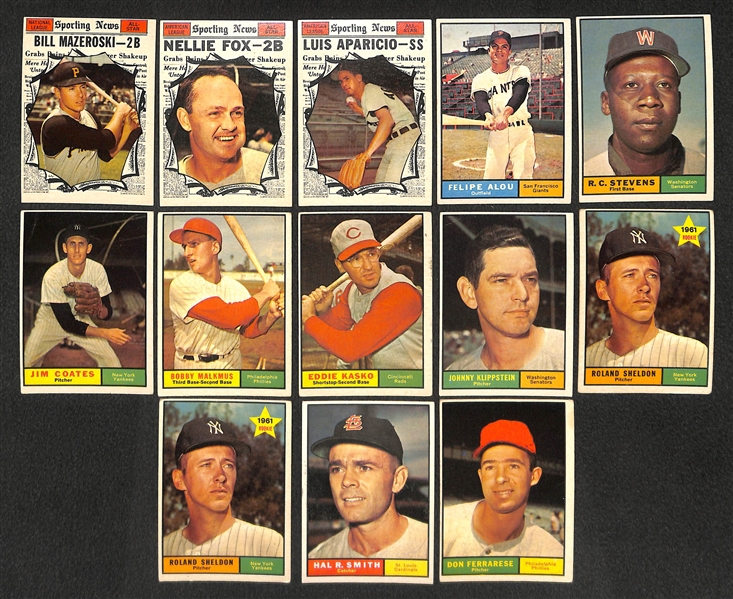 Lot of 21 Assorted 1961 Topps Baseball High Number Cards w. Bill Mazeroski AS