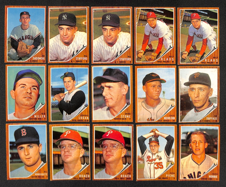 Lot of 51 Assorted 1962 Topps Baseball High Number Cards w. Curt Flood