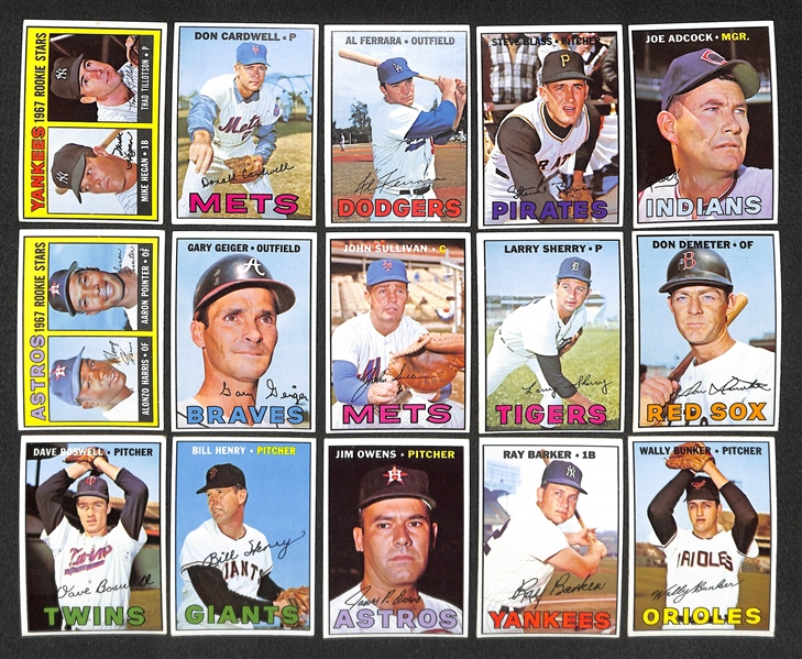 Lot of 40 Different 1967 Topps Baseball High Number Cards w. Maury Wills (First Topps Card)