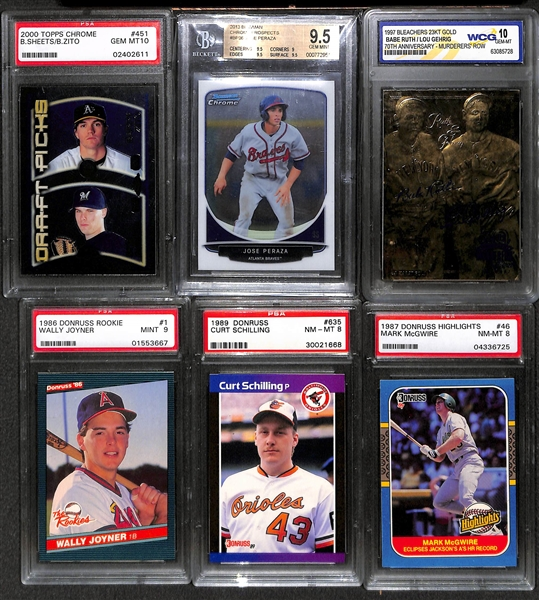 Lot of 20+ Graded Baseball Cards w. Many Rookies including Aaron Judge, Griffey Jr., McGuire, Ichira, Larry Walker, Chipper Jones - Gem Mint