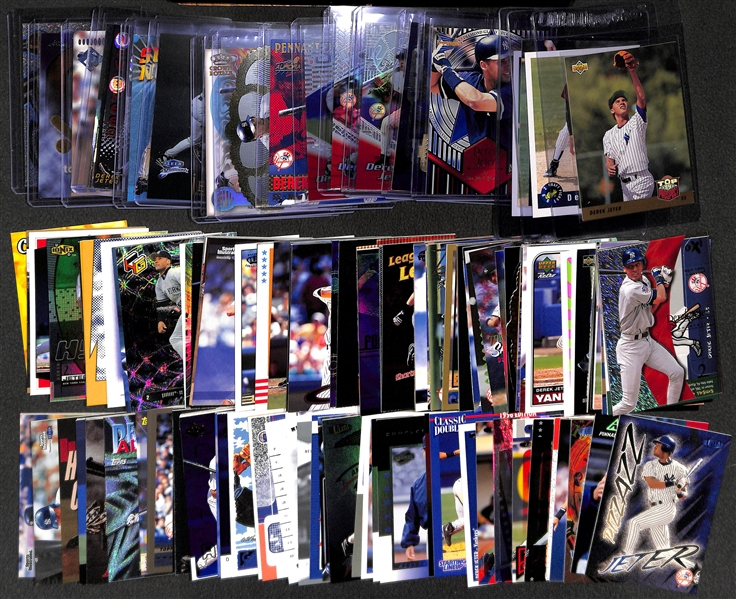 Lot of 140+ Derek Jeter Cards Including 4 Rookies & Many Rare Insert Cards