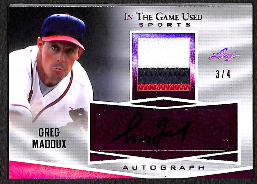 Greg Maddux 2018 Leaf In the Game Used #3/4 Autograph/Jersey Patch Relic Card