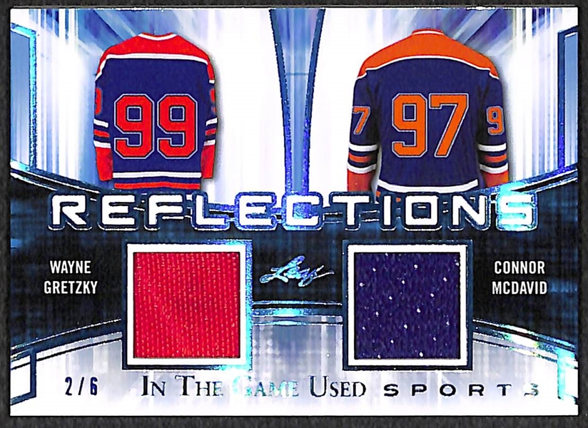 Connor McDavid & Wayne Gretzky 2018 Leaf In The Game Used Jersey Relic Card #2/6