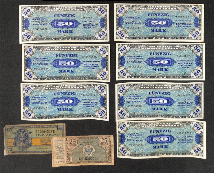 Lot of Paper Money - Inc. (8) 1953 Red Seal $2 Dollar Bills; (2) Military Payment Certificates; (5) Germany 50 Mark Series 1944 Banknote (WW2)