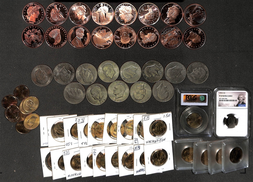 Large Lot of Coins, inc. (33) One Dollar Coins, (13) Liberty Dollar Coins, and (16) Liberty AVDP .999 Copper One Ounce, and (1) 1994 S Jefferson Nickel NGC PF69