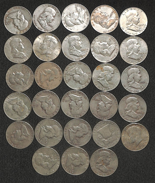 Lot of 28 Franklin Half Dollars & (8) John F. Kennedy Half Dollars - Silver