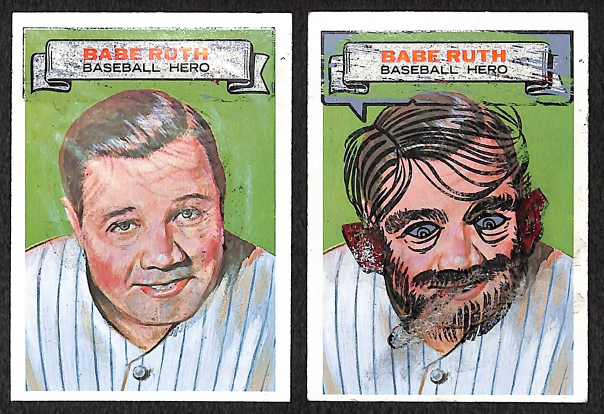 Lot of (2) 1967 Topps Who Am I? Babe Ruth Cards (One Scratched and One Partially Scratched)