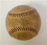 Babe Ruth Multi-Signed Autographed Baseball - Multi-Signed w. 8 1930s Signatures Including Ruth on the Sweet Spot - PSA/DNA