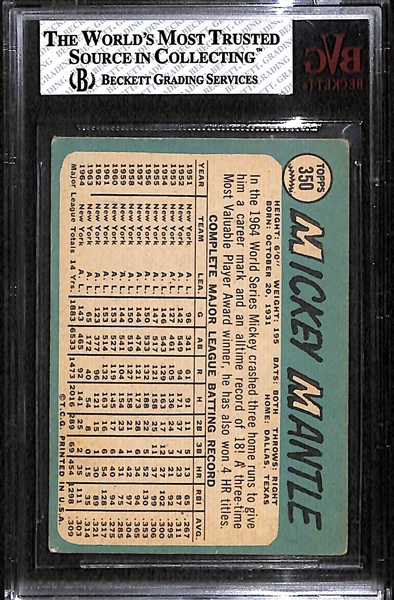 1965 Topps Mickey Mantle Card Graded BVG 3 (Card # 350)