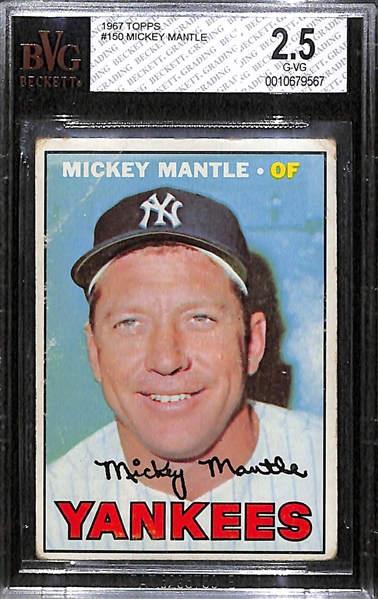 1967 Topps Mickey Mantle Card Graded BVG 2.5 (Card # 150)