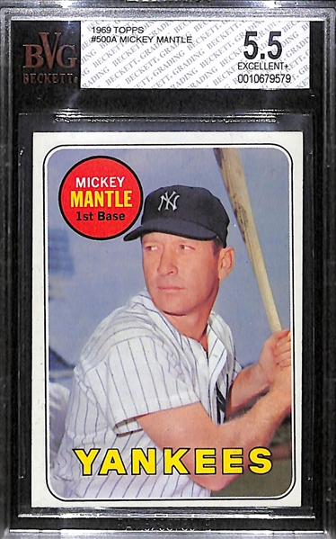 1969 Topps Mickey Mantle Card Graded BVG 5.5 (Card # 500)