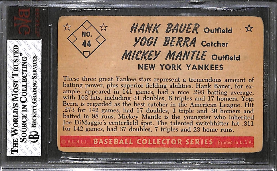 1953 Bowman Color #44 Berra/Bauer/Mantle - BVG 2