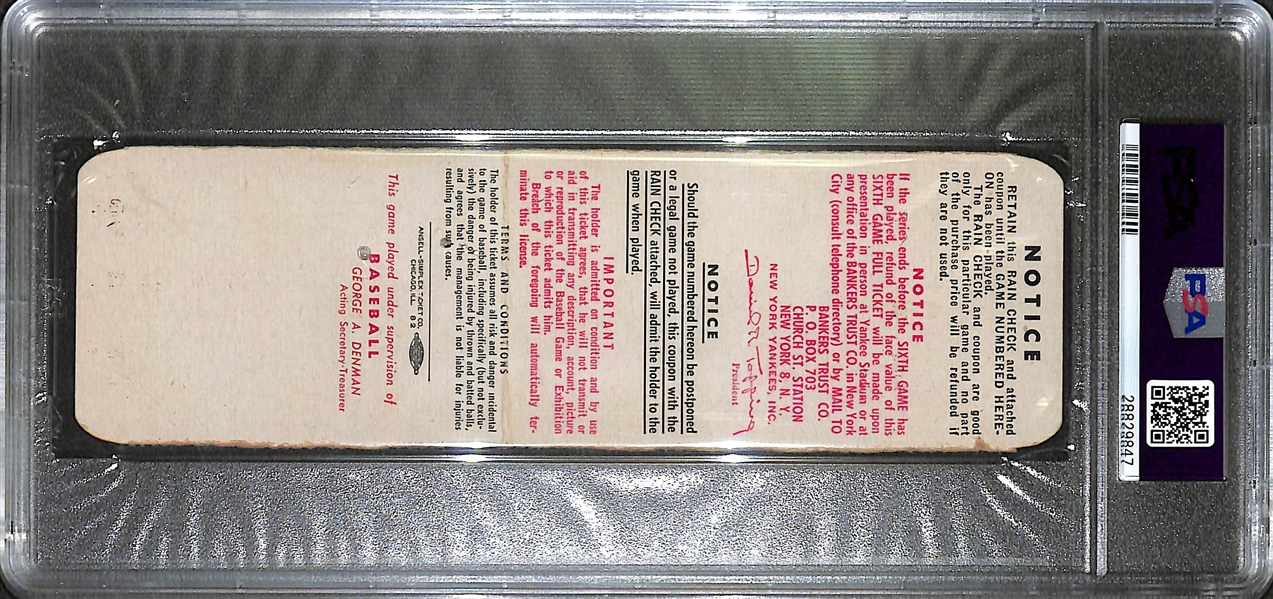 1951 World Series Game 6 Full Ticket - Yankees vs. Giants - PSA 2
