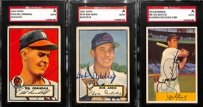 Lot Of 3 Signed 1952 Topps & 1954 Bowman Baseball Cards