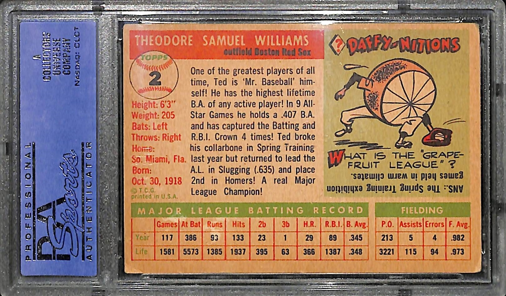 1955 Topps #2 Ted Williams PSA 4