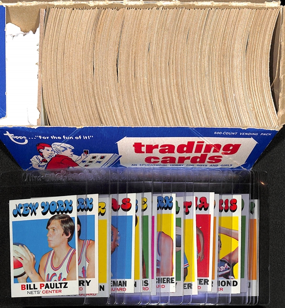 Over 450 Pack-Fresh 1971-72 Topps Basketball Cards in Vending Box