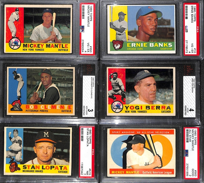 1960 Topps Baseball Complete Set of 572 Cards w. Mantle #350 PSA 4