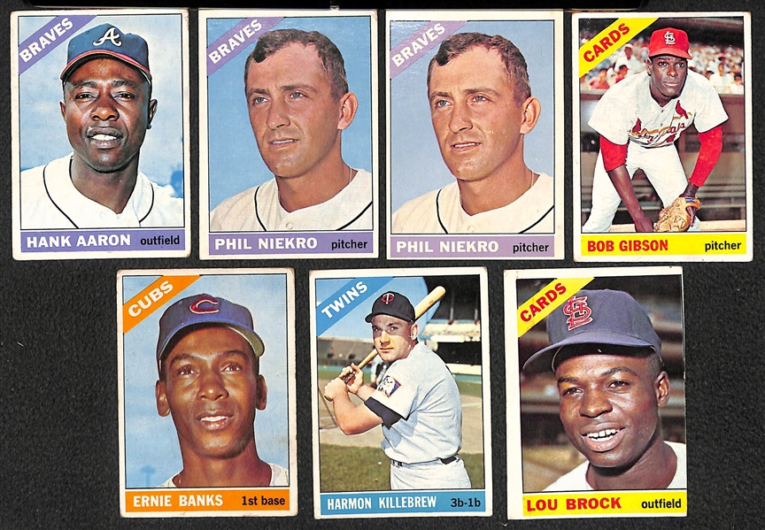 Lot Of 110 1966 Topps Baseball Cards w. Hank Aaron