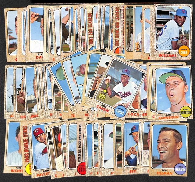 Lot Of 100 1968 Topps Baseball Cards w. Rod Carew